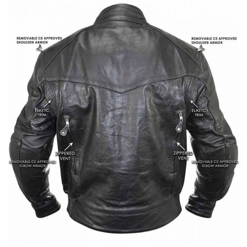 Bandit Buffalo Leather Cruiser Motorcycle Jacket with Level-3 Armor